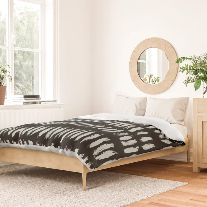 Pastel Green and Black Stripe Dash Lines Pattern Pairs Behr 2022 Color of the Year Breezeway MQ3-21 Duvet Cover. 2022 colour trend