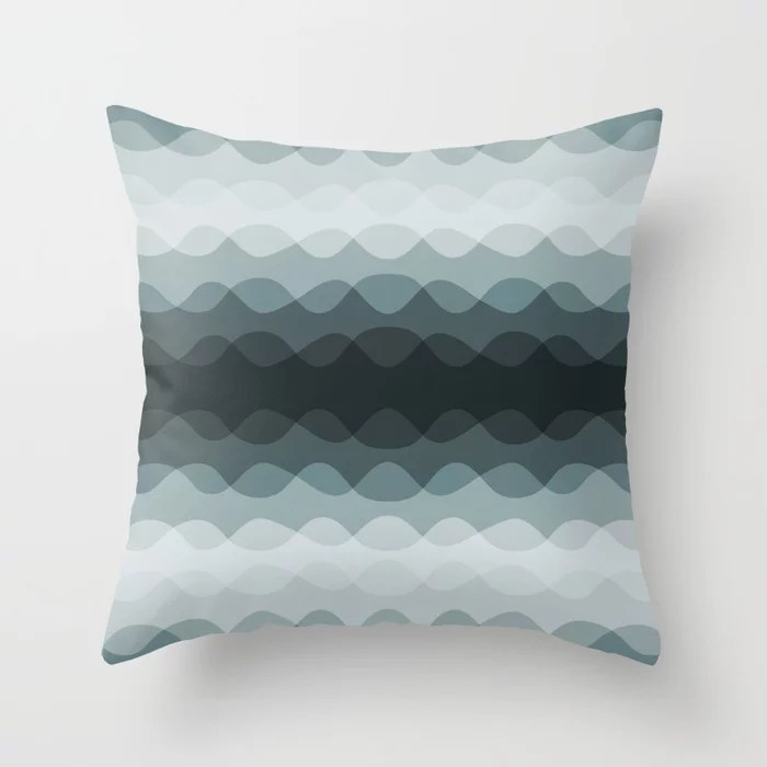 Cool Tropical Blue-Green Wavy Line Pattern 2021 Color of the Year Aegean Teal 2136-40 Throw Pillow