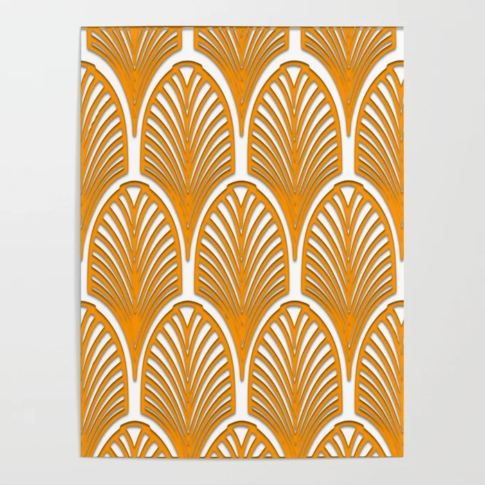 Orange White Art Deco Vintage Fan Pattern Art Nouveau Vintage Poster By Healinglove8 Society6
