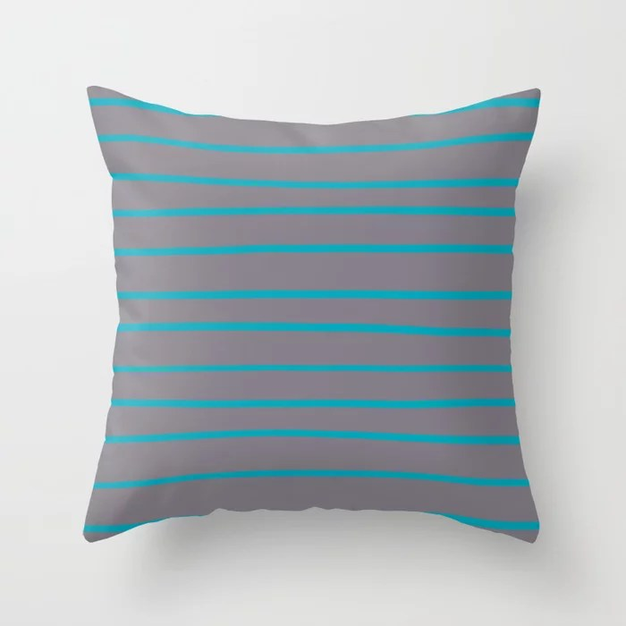 Aqua Blue and Gray Stripe Pattern 2021 Color 2021 Color of the Year AI Aqua and Good Gray Throw Pillow