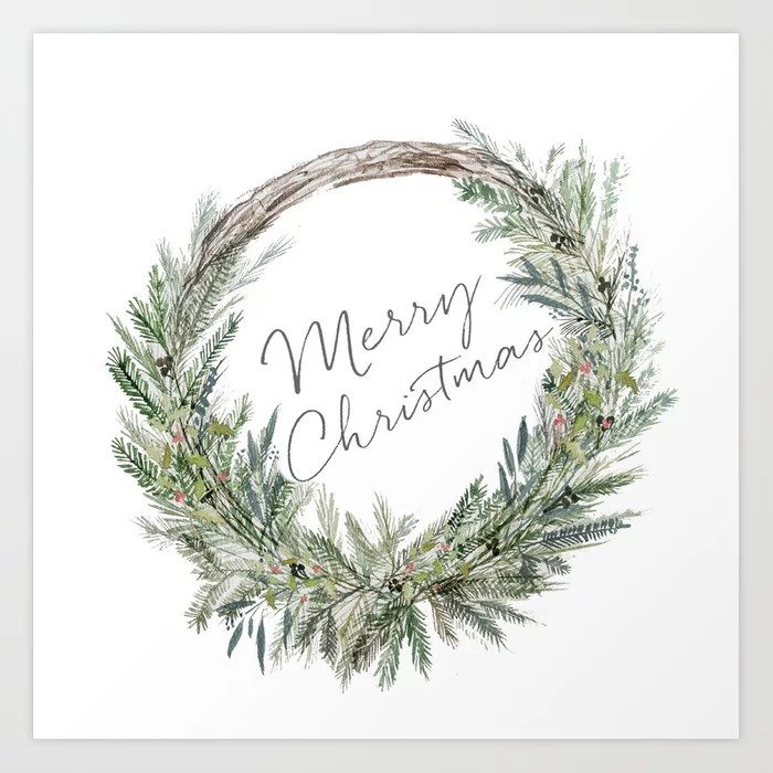 Sunday's Society6 | Christmas Wreath art print