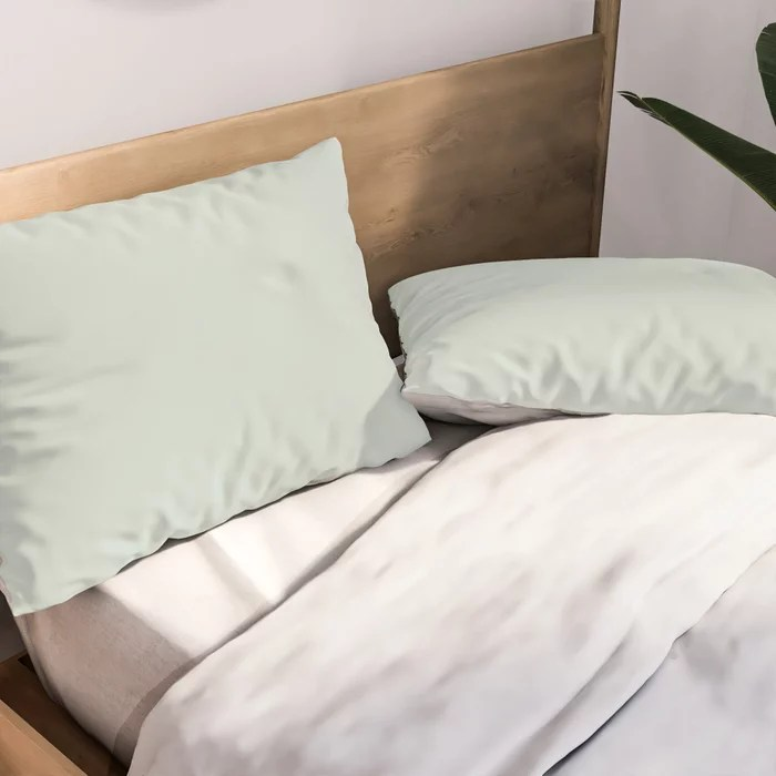 Pastel Green Solid Color pillow shams Pairs Behr 2022 Color of the Year Breezeway MQ3-21. 2022 color scheme, trending interior design hue.