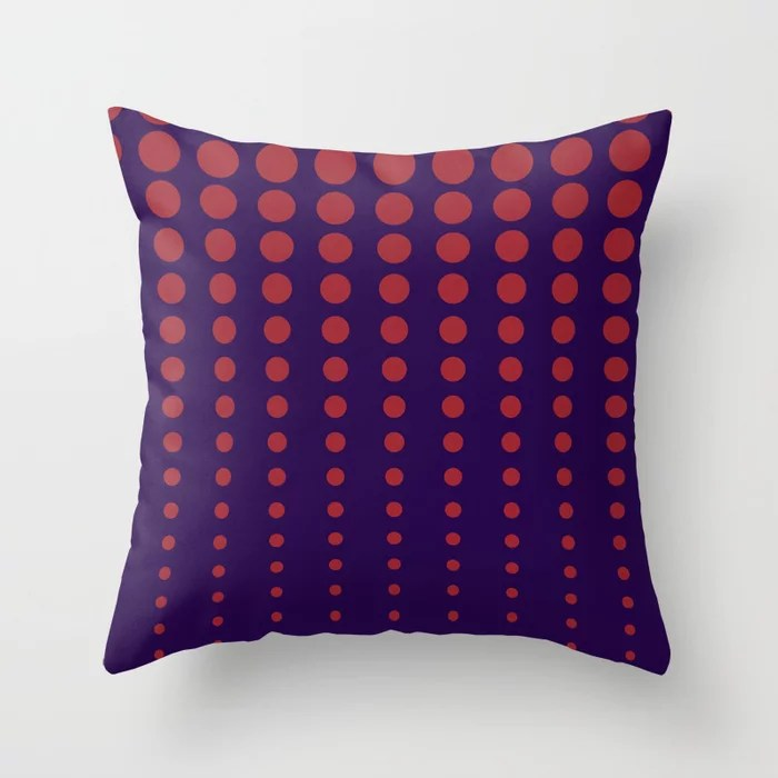Purple and Red Reduced Polka Dot Pattern 2021 Color of the Year Satin Paprika and Purple Throw Pillow