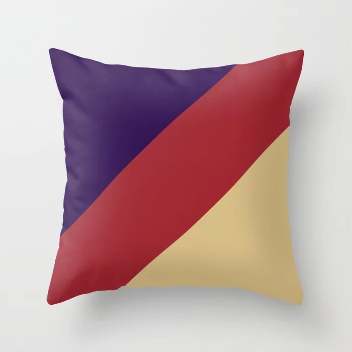 Red Purple Beige Diagonal Stripe Design 2021 Color of the Year Satin Paprika and Accent Shades Throw Pillow