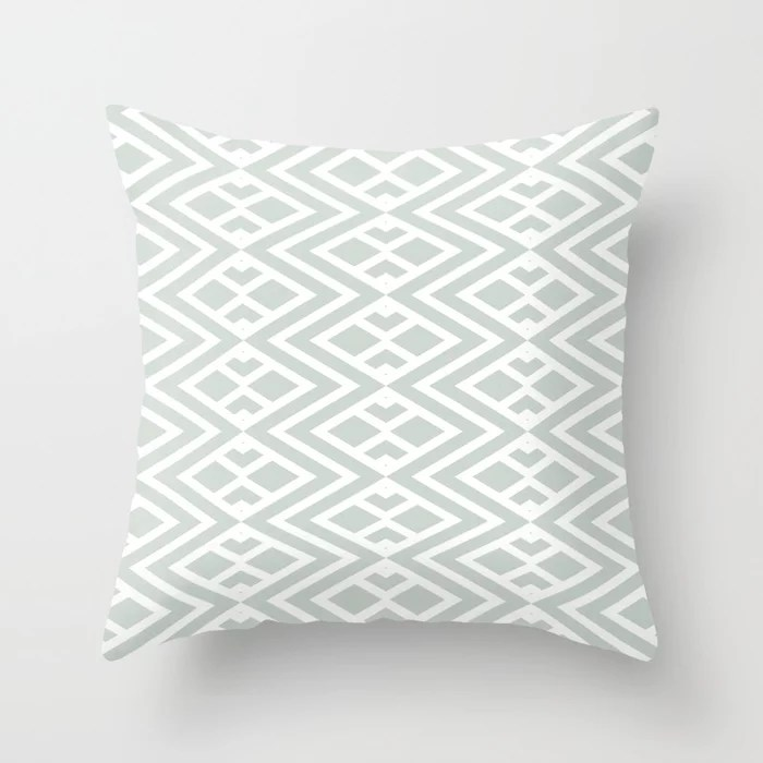 Pastel Green and White Minimal Diamond Pattern Pairs Behr 2022 Color of the Year Breezeway MQ3-21 Throw Pillow. 2022 color scheme, trending interior design hue.