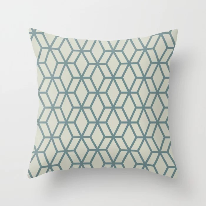 Aqua and Beige Geometric Tessellation Pattern 16 2021 Color of the Year Aegean Teal and Sweet Spring Throw Pillow