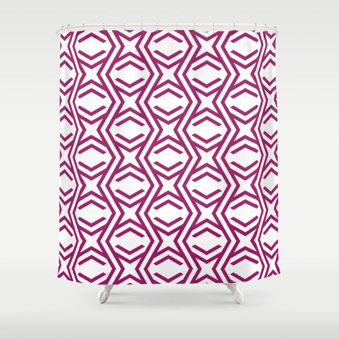 Magenta and White Zig Zag Stripe and Star Pattern - Colour of the Year 2022 Orchid Flower 150-38-31 Shower Curtain - 2022 colour trends interior decorating fuchsia - purple - pink