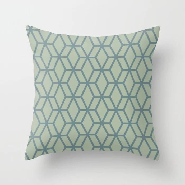 Aqua and Green Geometric Tessellation Pattern 16 2021 Color of the Year Aegean Teal Salisbury Green Throw Pillow