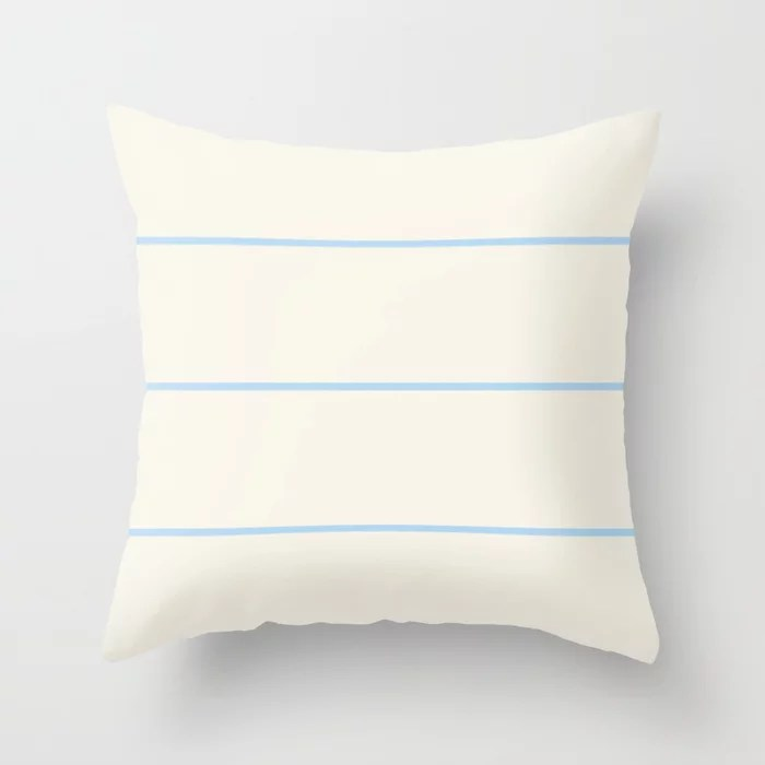 Baby Blue Off-White Horizontal Stripe Pattern 2021 Color of the Year Wild Blue Yonder Swiss Coffee Throw Pillow