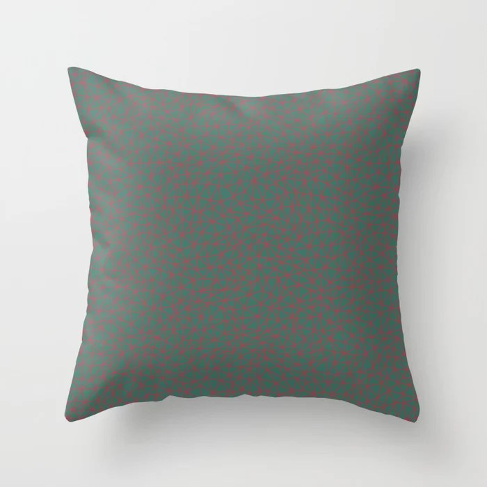Red and Green Triangle Shape Pattern 2021 Color of the Year Passionate & Cloverfields Throw Pillow