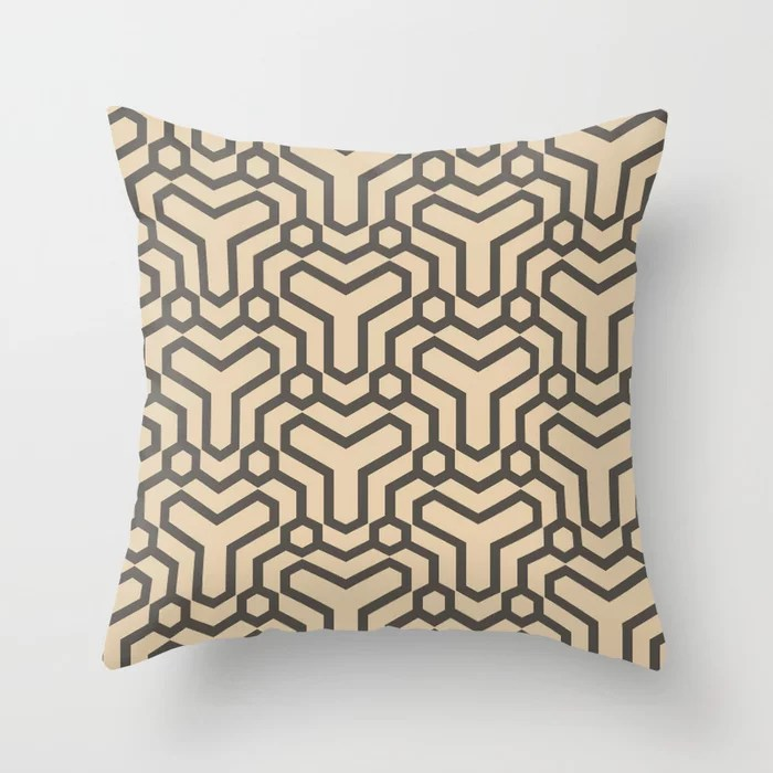 Brown and Tan Line Art Pattern 5 Shapes 2021 Color of the Year Urbane Bronze and Ivoire Throw Pillow