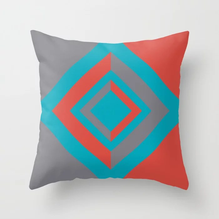 Aqua Gray Red Diamond Minimal Illustration 2021 Color of the Year AI Aqua and Accent Shades Throw Pillow