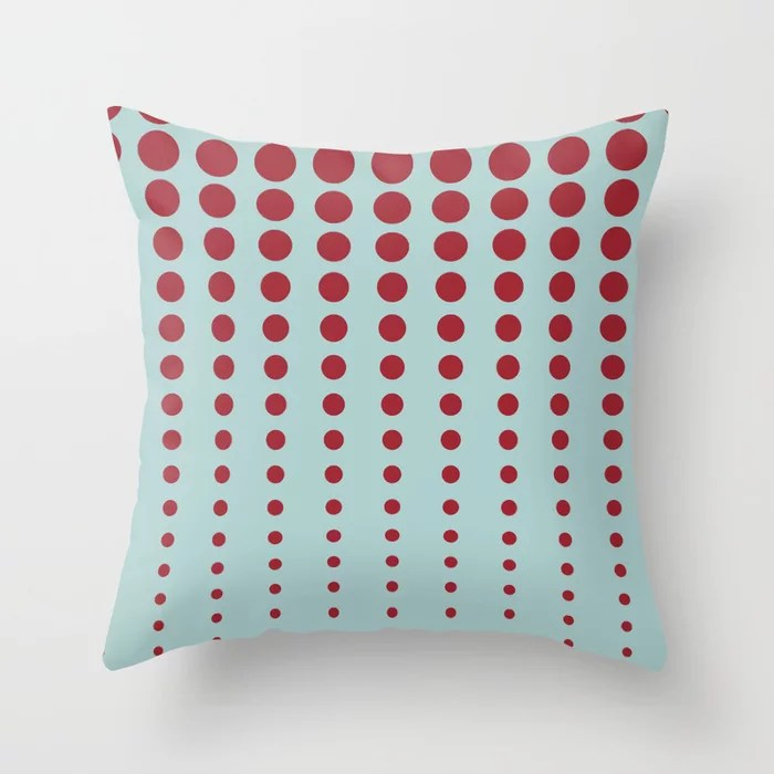Pastel Blue and Red Reduced Polka Dot Pattern 2021 Color of the Year Satin Paprika and Serenity Blue Throw Pillow