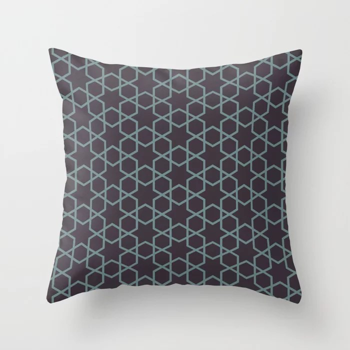 Muted Aqua and Purple Abstract Stars and Diamonds 2021 Color of the Year Aegean Teal Tulsa Twilight Throw Pillow