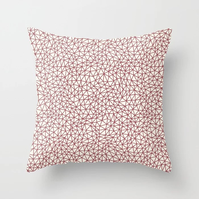 Red and Off White Triangle Shape Pattern 2021 Color of the Year Passionate & Bohemian Lace Throw Pillow