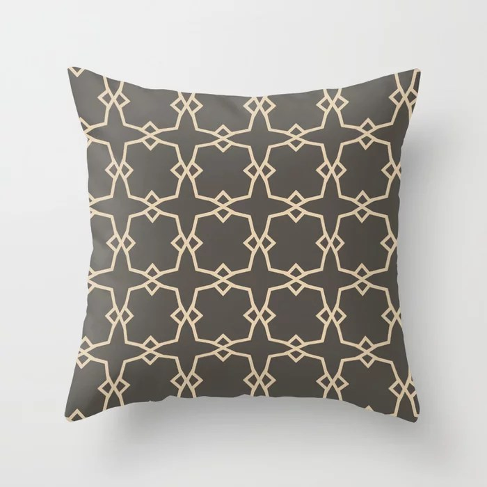 Dark Brown Tan Tessellation Line Pattern 30 2021 Color of the Year Urbane Bronze and Ivoire Throw Pillow
