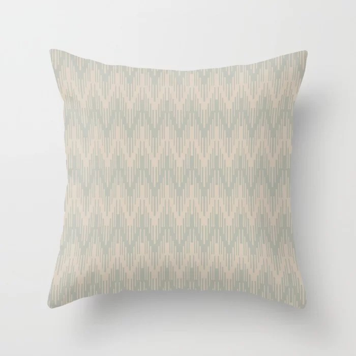Light Beige Green Gray Chevron Ripple Pattern: Hues were inspired by and match (pair / coordinate with) 2021 Color of the Year Uptown Ecru & Eucalyptus Throw Pillow