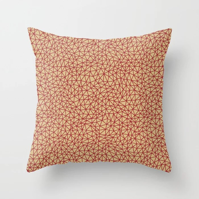 Red and Beige Triangle Shape Pattern 2021 Color of the Year Satin Paprika and Sunlit Brass Throw Pillow