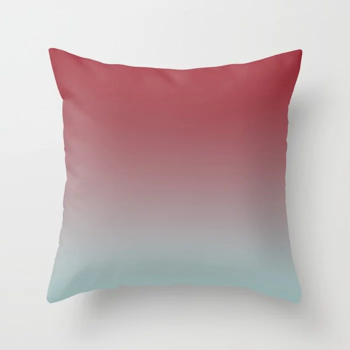 Red and Pastel Blue Gradient Ombre Blend 2021 Color of the Year Satin Paprika Serenity Blue Throw Pillow