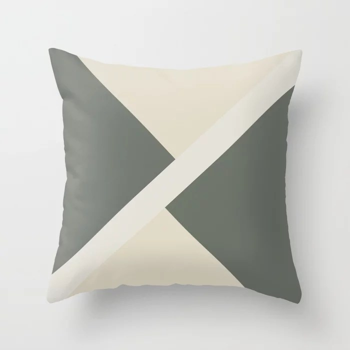 Green Off White Tan Stripe Offset Pattern 2021 Color of the Year Contemplative and Accent Shades Throw Pillow
