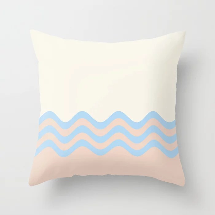 Baby Blue Off-white Peach Wavy Stripe Pattern 2 2021 Color of the Year Wild Blue Yonder and Accents Throw Pillow