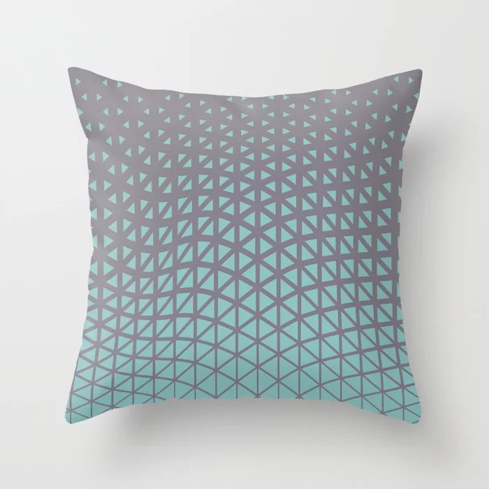 Pastel Teal and Purple Geometric Wave Pattern 2021 Color of the Year Aqua Fiesta and Magic Dust Throw Pillow