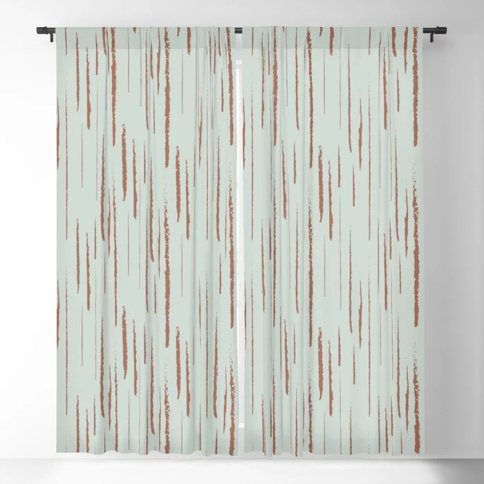 Pastel Green and Clay Vertical Stripe Pattern Pairs Behr 2022 Color of the Year Breezeway MQ3-21 Blackout Curtain. Colors popular 2022