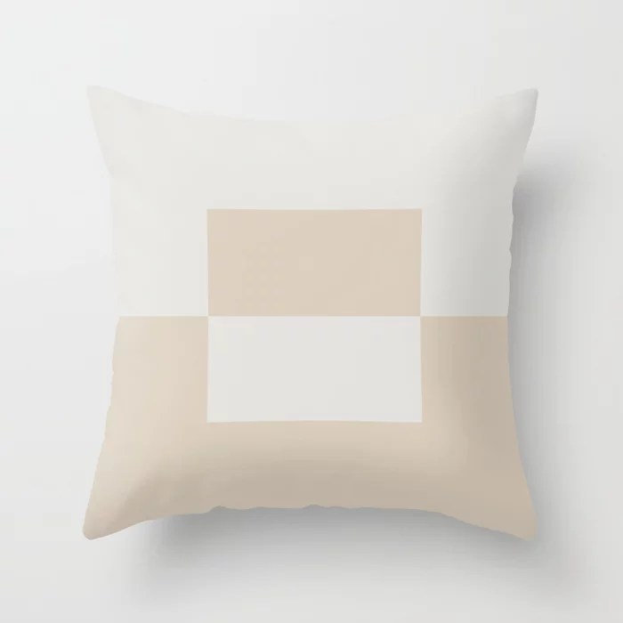 Light Beige White Minimal Square Design 2: Hues were inspired by and match (pair / coordinate with) 2021 Color of the Year Uptown Ecru and Gesso White Throw Pillow