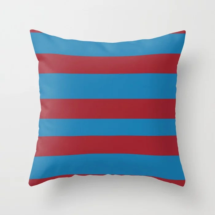 Red and Blue Wide Stripe Pattern2021 Color of the Year Satin Paprika and Satin Lagoon Throw Pillow