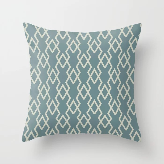 Soft Aqua Blue Beige Tessellation Line Pattern 19 2021 Color of the Year Aegean Teal Sweet Spring Throw Pillow