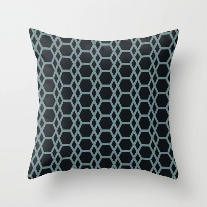 Blue-Green Black Line Pattern 13 Hexagon Diamond 2 2021 Color of the Year Aegean Teal and Jet Black Throw Pillow