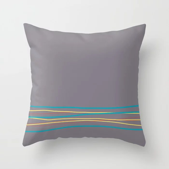 Gray Aqua Red Yellow Scribble Line Design Bottom 2021 Color of the Year AI Aqua and Accent Shades Throw Pillow
