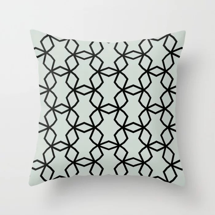 Pastel Green and Black Shape Mosaic Pattern Pairs Behr 2022 Color of the Year Breezeway MQ3-21 Throw Pillow. 2022 color scheme, trending interior design hue.