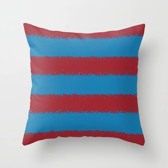 Red and Blue Minimal Sponge Stripe Pattern 2021 Color of the Year Satin Paprika and Satin Lagoon Throw Pillow