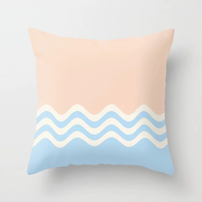 Baby Blue Off-White Peach Wavy Stripe Pattern 2021 Color of the Year Wild Blue Yonder and Accents Throw Pillow