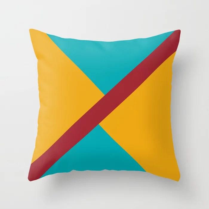 Red Aqua Orange Diagonal Stripe Offset Pattern Rustoleum 2021 Color of the Year Satin Paprika Throw Pillow