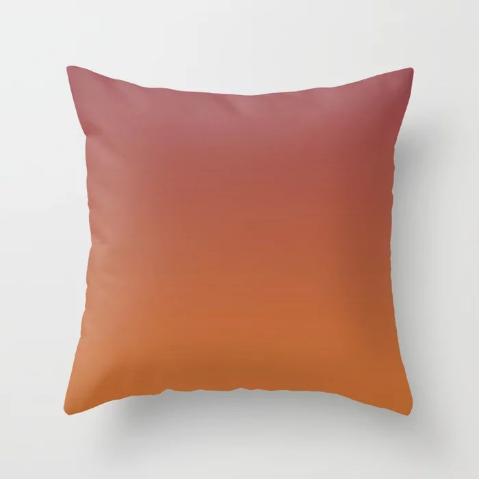 Red and Orange Gradient Ombre Fading Blend 2021 Color of the Year Passionate and Copper Kettle Throw Pillow