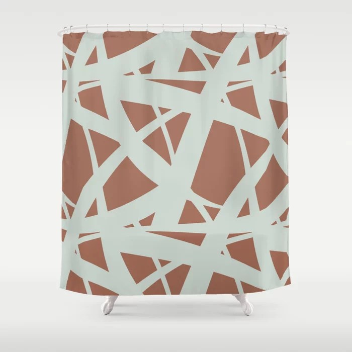 Pastel Green and Clay Abstract Mosaic Pattern 3 Pairs Behr 2022 Color of the Year Breezeway MQ3-21 Shower Curtain. 2022 color trend