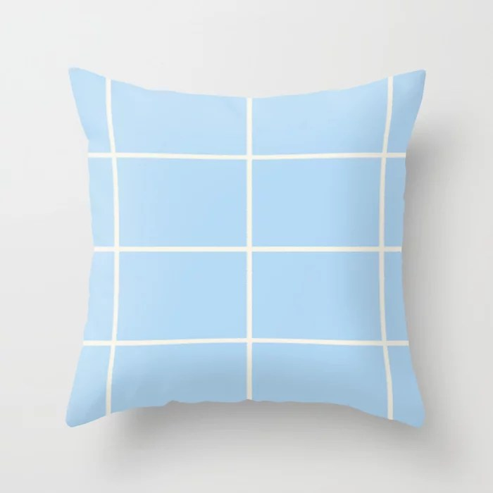 Baby Blue Off-White Criss Cross Stripe Pattern 2021 Color of the Year Wild Blue Yonder Swiss Coffee Throw Pillow
