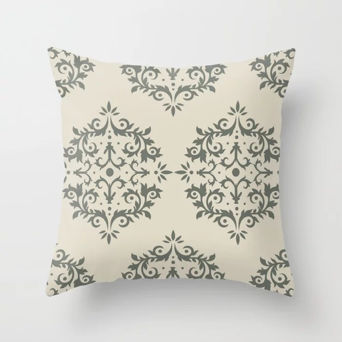 Moody Green Buff Tan Damask Scroll Pattern 2021 Color of the Year Contemplative Bleached Pebble Throw Pillow