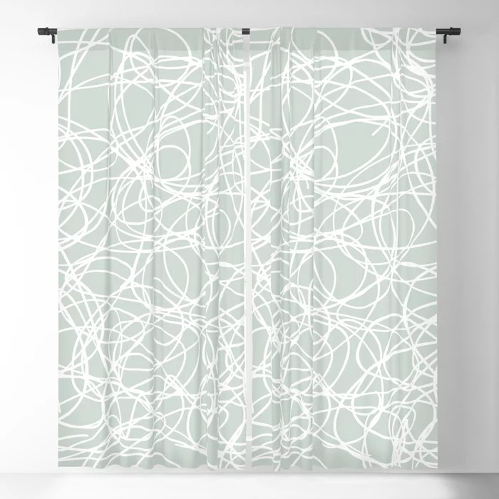 Mint Green and White Scribble Mosaic Pattern Behr 2022 Color of the Year Breezeway MQ3-21 Blackout Curtain. Spring/Summer 2022 color forecast