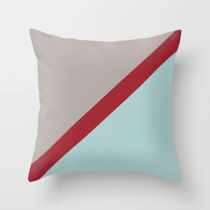 Red Grey Pastel Blue Diagonal Stripe Pattern Rustoleum 2021 Color of the Year Satin Paprika & Accent Throw Pillow