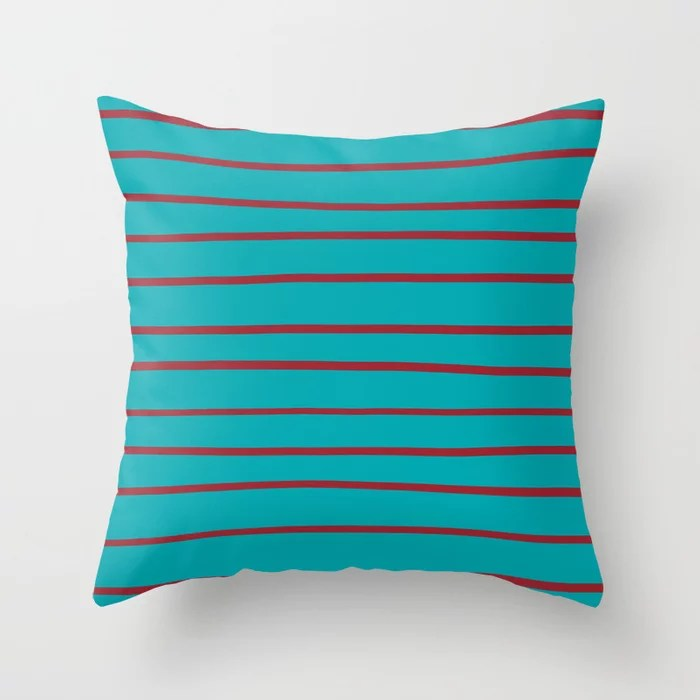 Red and Aqua Thin Stripe Pattern 2021 Color of the Year Satin Paprika and Vintage Teal Throw Pillow