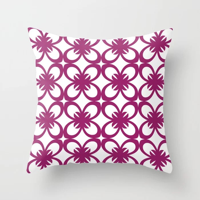 Magenta and White Minimal Floral Flower Pattern - Colour of the Year 2022 Orchid Flower 150-38-31 Throw Pillow