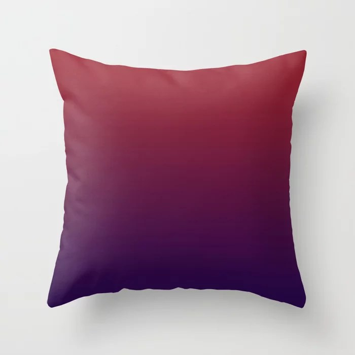 Red and Purple Gradient Ombre Blend 2021 Color of the Year Satin Paprika and Purple Throw Pillow
