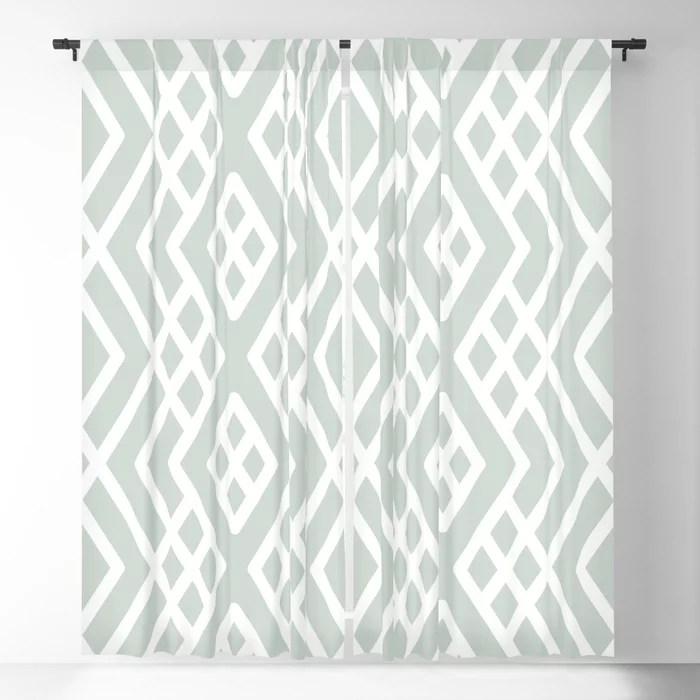 Pastel Green and White Shape Mosaic Pattern 3 Pairs Behr 2022 Color of the Year Breezeway MQ3-21 Blackout Curtain. Color for 2022