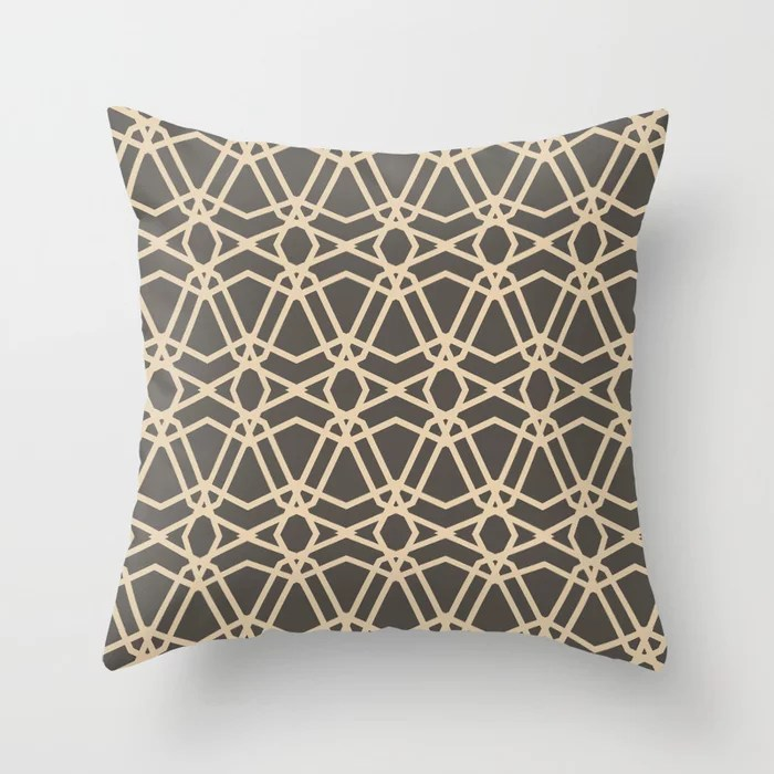 Brown and Tan Line Geometric Pattern Chains Throw Pillows match and coordinate with Sherwin Williams Paints 2021 Color of the Year Urbane Bronze and Ivoire