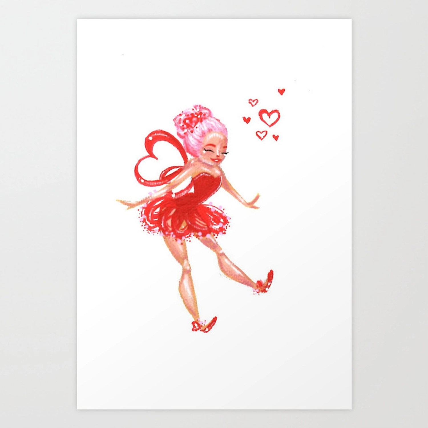 Happy Valentine S Day Cupid Fairy Art Print By Hallieodom Society6