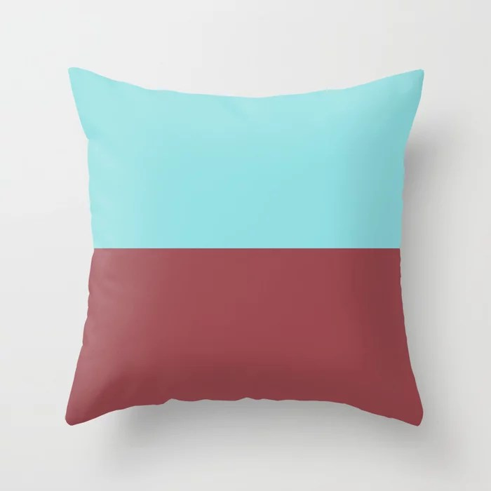 Red Pastel Blue Minimal Solid Color Line Pattern 2021 Color of the Year Passionate and Breezy Aqua Throw Pillow