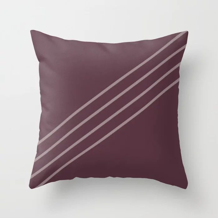 Deep Purple Pink-Purple Stripe Diagonal Pattern 2021 Color of the Year Epoch Spiced Mulberry Throw Pillow